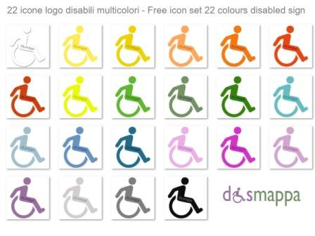 free icon set disabled handicap sign 22 colours logo disabili dismappa_@